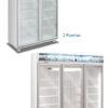 Exhibidora vertical 3, 4 y 5 puertas con cenefa marco de aluminio